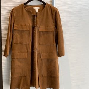 Suede like mid thigh jacket